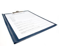 Medial Questionnaire in a clipboard Royalty Free Stock Photo