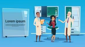 Mediala doktorer Team Hospital Cabinet Interior för grupp royaltyfri illustrationer