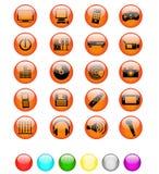 medialne glansowane rozrywek ikony Obrazy Stock