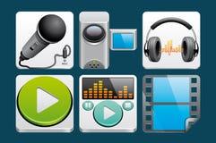 Medialne ikony Obrazy Stock