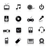 medialne podstawowy ikony Obrazy Stock