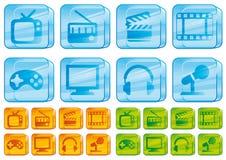 medialne szklane ikony Obraz Stock