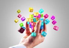 Medialni technologii i interneta networking sieci komunikacyjnego pojęcia ikony Kolorowi sześciany zdjęcie royalty free