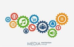 Medialny mechanizmu pojęcie Wzrostowy abstrakcjonistyczny tło z zintegrowanymi met piłkami, ikona dla cyfrowego, strategia, inter Obrazy Stock