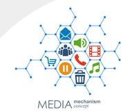 Medialny mechanizmu pojęcie Wzrostowy abstrakcjonistyczny tło z zintegrowanymi met piłkami, ikona dla cyfrowego, strategia, inter Zdjęcia Royalty Free