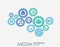 Medialny mechanizmu pojęcie Wzrostowy abstrakcjonistyczny tło z zintegrowanymi met piłkami, ikona dla cyfrowego, strategia, inter Fotografia Stock