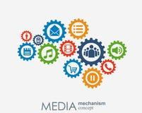 Medialny mechanizmu pojęcie Wzrostowy abstrakcjonistyczny tło z zintegrowanymi met piłkami, ikona dla cyfrowego, strategia, inter Fotografia Royalty Free