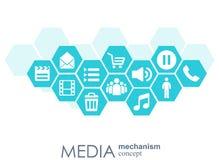 Medialny mechanizmu pojęcie Wzrostowy abstrakcjonistyczny tło z zintegrowanymi met piłkami, ikona dla cyfrowego, strategia, inter Zdjęcia Stock