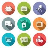 Medialny Płaski ikona set Zdjęcia Stock