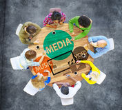 Medialny teledysk technologii komunikaci pojęcie Fotografia Royalty Free