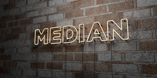 MEDIAN - Glowing Neon Sign on stonework wall - 3D rendered royalty free stock illustration. Can be used for online banner ads and direct mailers Royalty Free Stock Photo