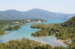 Mediano reservoir as seen from Ainsa, Spain Stock Photos