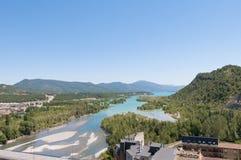 Mediano reservoir as seen from Ainsa, Spain stock photos