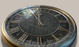 Medianoche antigua macra del reloj Foto de archivo libre de regalías