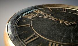 Medianoche antigua macra del reloj Fotografía de archivo
