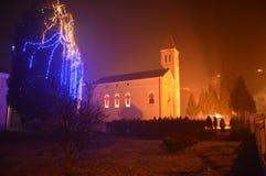 Medianoche de la Navidad de la escena de la noche Fotos de archivo
