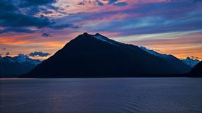 Medianoche en Alaska Foto de archivo libre de regalías