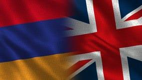 Medias banderas de Armenia y de Reino Unido junto libre illustration