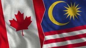 Medias banderas de Canadá y de Malasia junto ilustración del vector