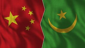 Medias banderas de China y de Mauritania junto libre illustration