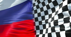 Medias banderas de la bandera a cuadros, de la raza y de la media bandera de la federación de Rusia, competencia rusa del extremo libre illustration