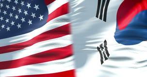 Medias banderas de los Estados Unidos de América y de la media bandera de la Corea del Sur, crisis entre el estado americano y su ilustración del vector