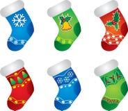 Medias coloridas de la Navidad Foto de archivo