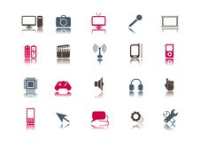 Medias et positionnement de graphisme de technologie   Propre Image libre de droits