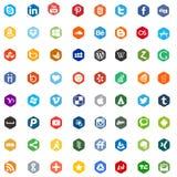 Medias muestras sociales del logotipo del app del establecimiento de una red ilustración del vector