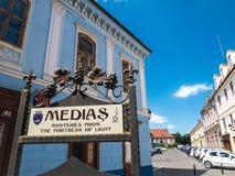 Medias Rumunia, Czerwiec, - 2017: Medias miasta symbol w głównym placu Zdjęcie Stock