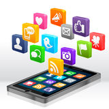 Medias sociaux Apps Photo libre de droits