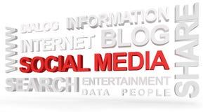Medias sociaux dans 3D Photos stock
