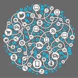 Medias sociaux, fond du vecteur de graphismes Photo stock
