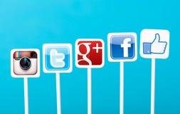 Medias sociaux lançant le concept sur le marché Image stock