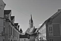 Medias Tower trumpet. Medias, medieval town in Transylvania, Romania Stock Photo