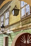 Medias urban architecture, Transylvania, Romania. Architectural detail of a beautiful old building at Piata Regele Ferdinand I or King Ferdinand I Square in stock images