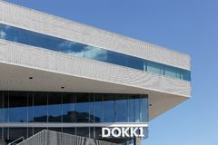 Mediaspace urbano en Aarhus, Dinamarca Foto de archivo libre de regalías