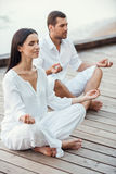 Mediating together. Royalty Free Stock Photo