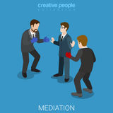 Mediation business conflict boxing flat isometric vector 3d Stock Photography