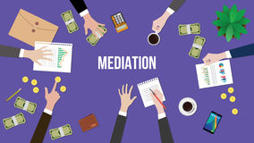 Mediation concept discussion illustration with people discuss in a meeting with paperworks, money and coins on top of Royalty Free Stock Photography