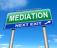 Mediation concept. Illustration depicting a sign with a mediation concept Stock Images