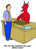 Mediation of Ethics Case. Business cartoon of devil saying to businessman, 'Hi I'm the mediator for your ethics case Royalty Free Stock Photos