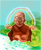 Mediation monk fly over green island. Happy and peacefully stock illustration