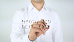 Mediation Next Exit, Man Writing on Glass. High quality Royalty Free Stock Photos