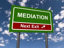 Mediation sign. Green mediation sign with the sky in the background Royalty Free Stock Image