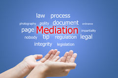 Mediation word cloud. Text association with mediation over outstretched open palms on blue background Stock Photography