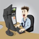Mediatore di borsa valori in un panico Fotografia Stock Libera da Diritti