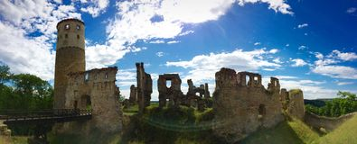 Mediaval Castle. A Panorama of a mediaval Castle in bohemia stock photography