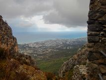 Mediaval fort st hilarion castle. In northern cyprus royalty free stock photos
