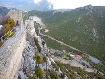 Mediaval fort st hilarion castle. In northern cyprus stock photography